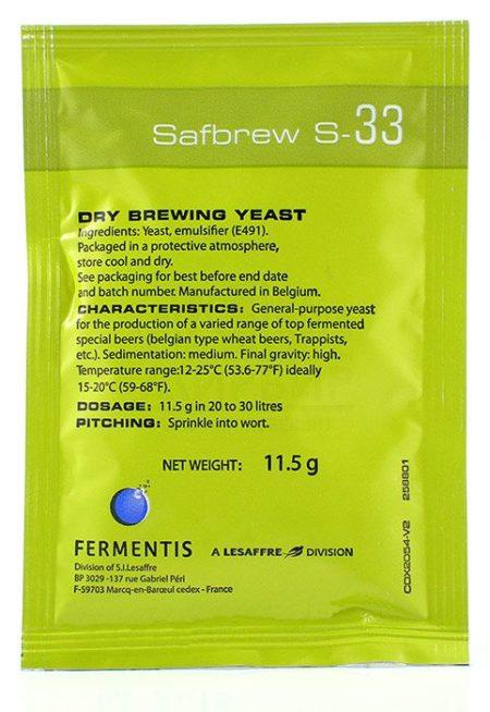 Дрожжи Fermentis Safale S-33, 11,5 г